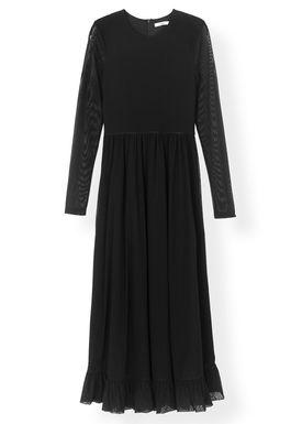 Ganni - Klänning - Dot Mesh Maxi Dress T2174 - Black