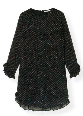 Ganni - Klänning - Printed Georgette Mini Dress F2990 - Black