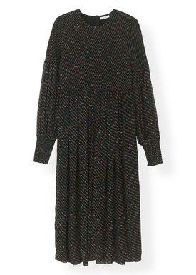 Ganni - Klänning - Printed Georgette Smock Dress F3049 - Black