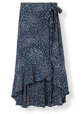 Ganni - Kjol - Barra Crepe Wrap Skirt - Total Eclipse