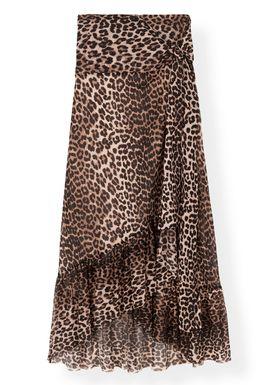 Ganni - Kjol - Printed Mesh Wrap Skirt T2170 - Leopard