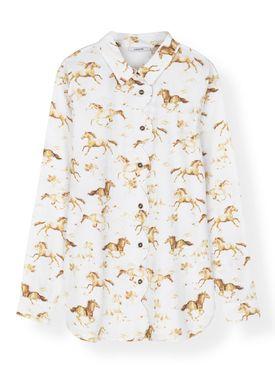 Ganni - Shirt - Printed Poplin Shirt F3019 - Bright White
