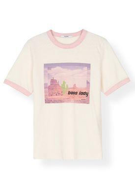 Ganni - T-shirt - Slub Jersey T-Shirt T2198 - Silver Pink