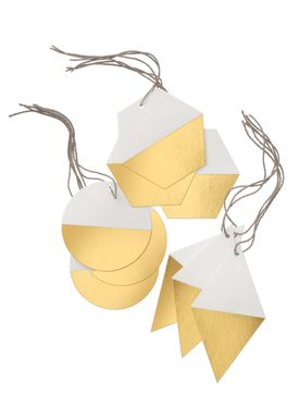 Ferm Living - Christmas Ornaments - Geometric Gift Tags - Gold (Set of 9)