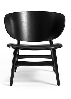 Getama - Lounge Chair - GE1936 / Venus Chair / by Hans J. Wegner - Black Stained Oak w. black leather