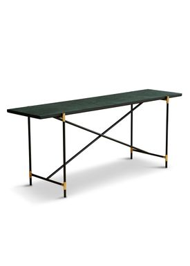 Handvärk - Table - Console by Emil Thorup - Black Frame with Brass - Verde Guatamala / Green Marble