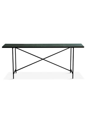 Handvärk - Table - Console by Emil Thorup - Black Frame - Verde Guatamala / Green Marble
