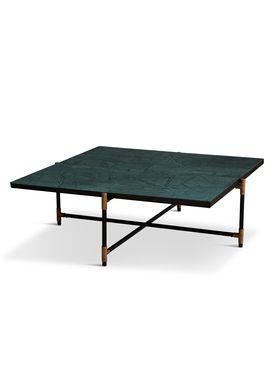 Handvärk - Coffee Table - Coffee Table 90 by Emil Thorup - Black Frame with Brass - Verde Guatamala / Green Marble