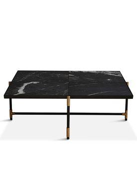 Handvärk - Coffee Table - Coffee Table 90 by Emil Thorup - Black Frame with Brass - Nero Marquina / Black Marble