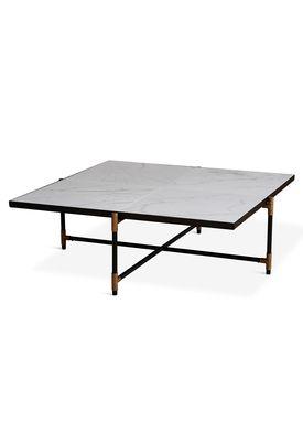 Handvärk - Coffee Table - Coffee Table 90 by Emil Thorup - Black Frame with Brass - Statuario / White Marble