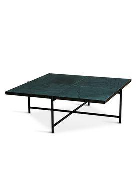 Handvärk - Coffee Table - Coffee Table 90 by Emil Thorup - Black Frame - Verde Guatamala / Green Marble
