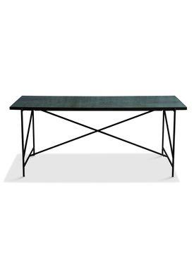 Handvärk - Dining Table - Dining Table 185 by Emil Thorup - Black Frame - Verde Guatamala / Green Marble