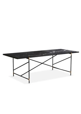 Handvärk - Dining Table - Dining Table 230 by Emil Thorup - Black Frame with Brass - Nero Marquina / Black Marble