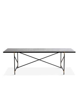 Handvärk - Dining Table - Dining Table 230 by Emil Thorup - Black Frame with Brass - Statuario / White Marble