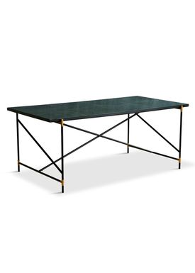 Handvärk - Dining Table - Dining Table 185 by Emil Thorup - Black Frame with Brass - Verde Guatamala / Green Marble