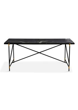 Handvärk - Dining Table - Dining Table 185 by Emil Thorup - Black Frame with Brass - Nero Marquina / Black Marble