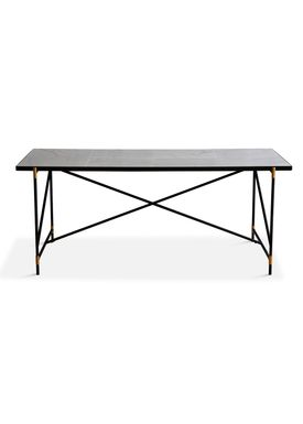Handvärk - Dining Table - Dining Table 185 by Emil Thorup - Black Frame with Brass - Statuario / White Marble