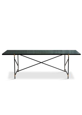 Handvärk - Dining Table - Dining Table 230 by Emil Thorup - Black Frame with Brass - Verde Guatamala / Green Marble