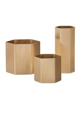 Ferm Living - Jar - Hexagon Pot - Large - Brass