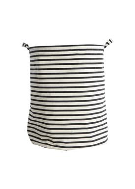 House doctor - Laundry Basket - Stripes Laundry Bag - Black/Offwhite Stripes