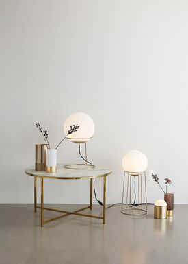 Hübsch - Table - Marble Glass Table - White/Gold
