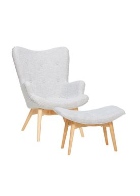 Hübsch - Lounge Chair - Recliner w/ Stool - Gray