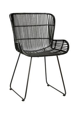Hübsch - Chair - Rattan Chair w/backrest - Black