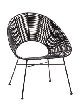 Hübsch - Stol - Round Rattan Hole Chair - Black