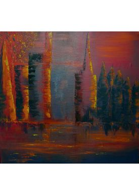 Iren Falentin - Painting - Golden glow - Orange
