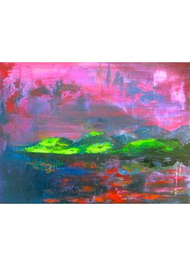Iren Falentin - Painting - Green hills - Purple