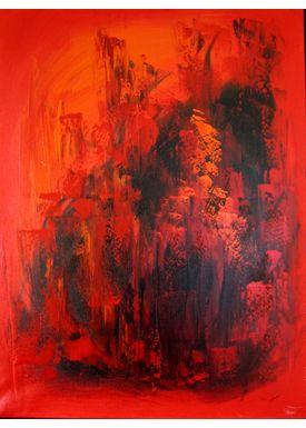 Iren Falentin - Painting - Midsummer bonfire - Red