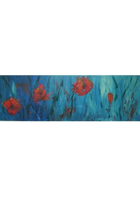 Iren Falentin - Painting - Poppies for Norway - Blue