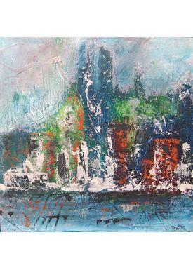 Iren Falentin - Painting - Rain over the city - Blue