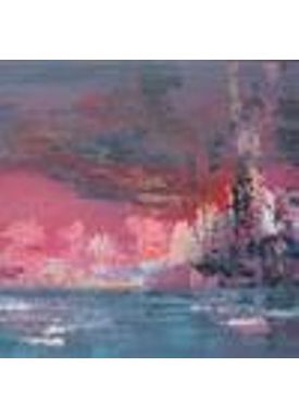 Iren Falentin - Painting - Red sun - Red/blue