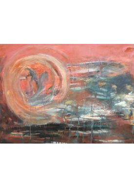Iren Falentin - Painting - Whale play - Orange