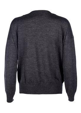 Le Mont Saint Michel - Strik - Extra Fine Merino Wool Round Neck - Dark Grey Melange