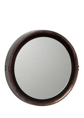 Mater - Mirror - Sophie Mirror - Sirka grey stained mango wood with black leather rim