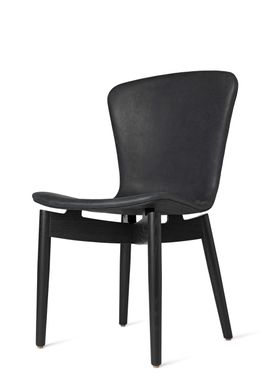 Mater - Stol - Shell Dining Chair - Black Oak / Dunes Anthracite Black Leather Upholster