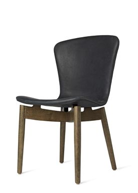 Mater - Stol - Shell Dining Chair - Sirka Grey Oak / Dunes Anthracite Black Leather Upholster