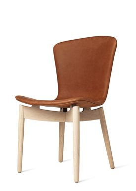 Mater - Stol - Shell Dining Chair - Mat Lacquered Oak / Dunes Rust Leather Upholster