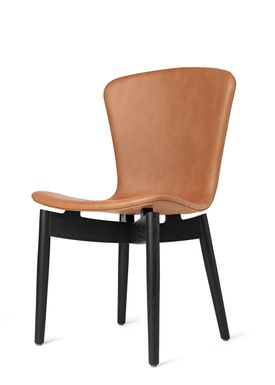 Mater - Chair - Shell Dining Chair - Black Oak / Ultra Brandy Leather Upholster