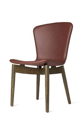 Mater - Stol - Shell Dining Chair - Sirka Grey Oak / Ultra Cognac Leather Upholster