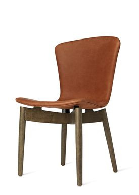 Mater - Stol - Shell Dining Chair - Sirka Grey Oak / Dunes Rust Leather Upholster