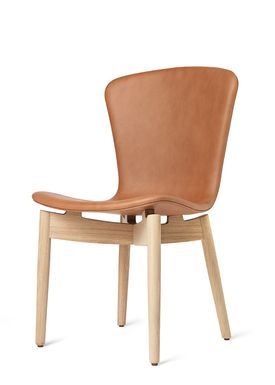 Mater - Stol - Shell Dining Chair - Mat Lacquered Oak / Ultra Brandy Leather Upholster