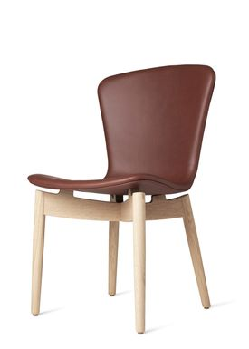 Mater - Stol - Shell Dining Chair - Mat Lacquered Oak / Ultra Cognac Leather Upholster