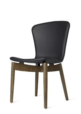 Mater - Stol - Shell Dining Chair - Sirka Grey Oak / Ultra Black Leather Upholster