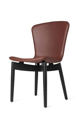 Mater - Stol - Shell Dining Chair - Black Oak / Ultra Cognac Leather Upholster