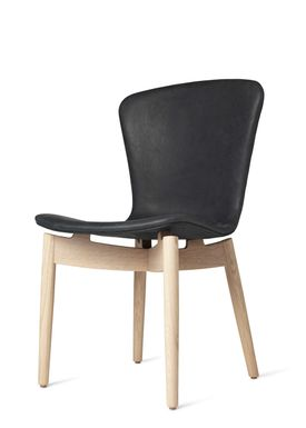 Mater - Stol - Shell Dining Chair - Mat Lacquered Oak / Dunes Anthracite Black Leather Upholster