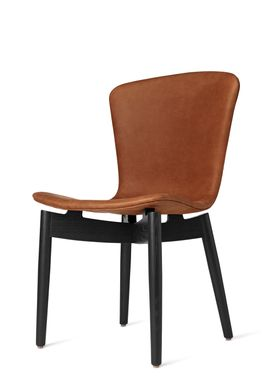 Mater - Stol - Shell Dining Chair - Black Oak / Dunes Rust Leather Upholster