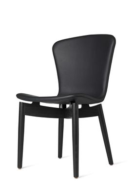 Mater - Chair - Shell Dining Chair - Black Oak / Ultra Black Leather Upholster